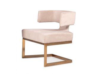 Modrest Calvo Modern Off-White Velvet & Brass Dining Chair