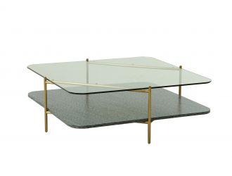 Modrest Cari - Glam Gold + Glass Coffee Table