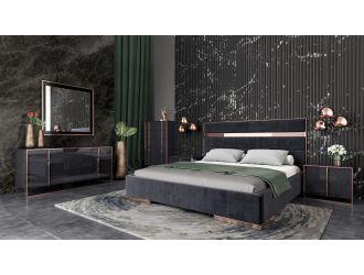 Nova Domus Cartier Modern Black & Rosegold Bedroom Set