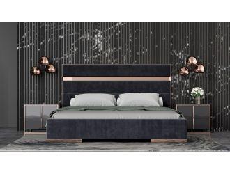 Modrest Cartier - Modern Black + Rose Gold Bed + Nightstands