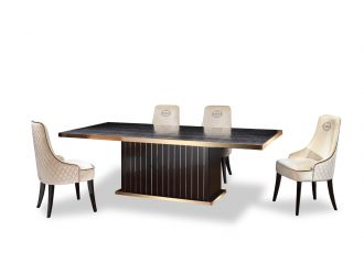 A&X Talin Modern Black Crocodile & Rosegold Dining Table
