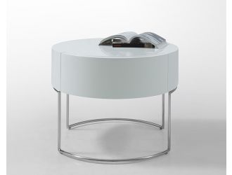 Modern Liv White Lacquer Round Nightstand