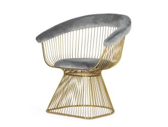 Modrest Chandler - Modern Grey Velvet & Gold Dining Chair