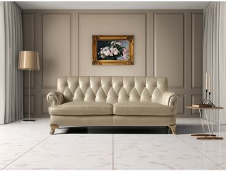 Estro Salotti Charlotte Modern Beige Leather Sofa Set