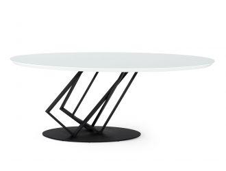 Modrest Corbett - Modern High Gloss White w/ Frosted Glass Dining Table