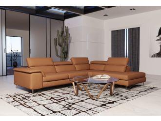 Coronelli Collezioni Viola - Italian Contemporary Cognac Leather Right Facing Sectional Sofa