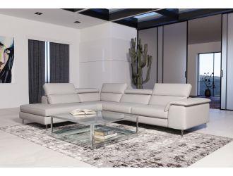 Coronelli Collezioni Viola - Italian Contemporary Grey Leather Left Facing Sectional Sofa