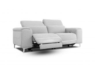 Divani Casa Cyprus - Contemporary Grey Fabric 3-Seater Sofa w/ Electric Recliners