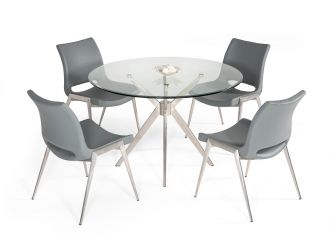 Modrest Dallas - Modern Brushed Stainless Steel Dining Table