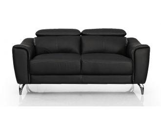 Divani Casa Danis - Modern Black Leather Loveseat