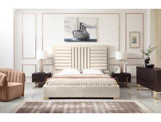 Modrest Daystar - Eastern King Modern Beige Velvet & Gold Bed
