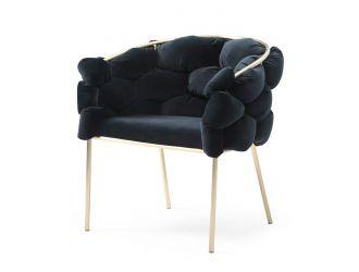 Modrest Debra - Modern Black Velvet + Brushed Brass Dining Chair