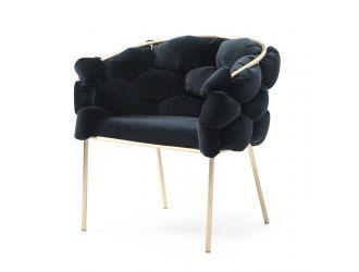 Modrest Debra - Modern Black Velvet Champagne Gold Dining Chair