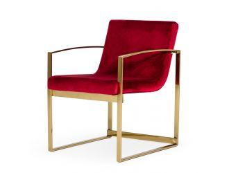 Modrest Defoe - Modern Red Velvet Accent Chair