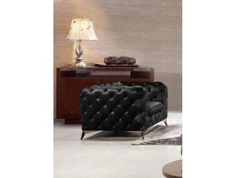 Divani Casa Delilah - Modern Black Fabric Armchair