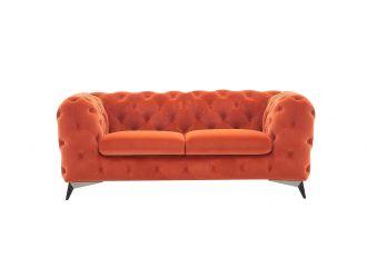 Divani Casa Delilah - Modern Orange Fabric Loveseat