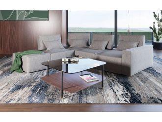 Divani Casa Chapel - Modern Light Grey Fabric Sectional Sofa + Ottoman