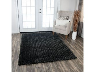 Kaaleen Dora Black Shag 7.5' x 9.5' Rug