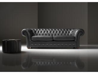Estro Salotti Dorchester Modern Black Leather Sofa Set