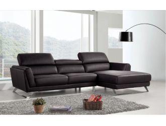 Divani Casa Doss - Modern Black Eco-Leather Right Facing Sectional Sofa