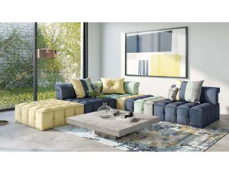 Divani Casa Dubai -  Modern Multicolored Fabric Modular Sectional Sofa