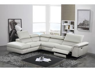 Divani Casa Maine - Modern Light Grey Eco-Leather Left Facing Sectional Sofa with Recliner