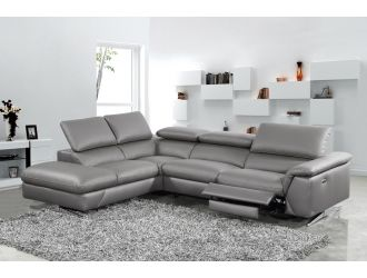 Divani Casa Maine - Modern Dark Grey Eco-Leather Left Facing Sectional Sofa with Recliner