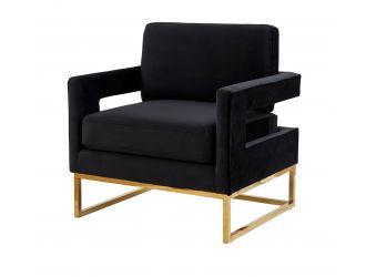 Modrest Edna - Modern Black Velvet & Gold Accent Chair