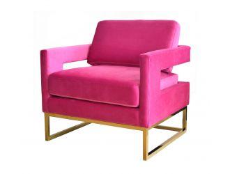 Modrest Edna - Pink Velvet + Gold Accent Chair
