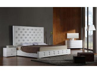 Elbrus White Modern Leather Platform Bed