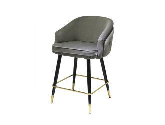 Modrest Elliot - Contemporary Grey & Black/Gold Dining Bar Stool (Set of 2)