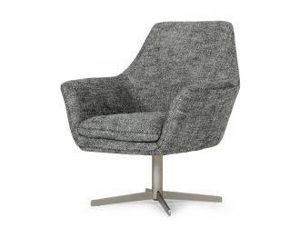 Divani Casa Elvin - Modern Dark Grey Fabric Swivel Lounge Chair