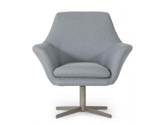 Divani Casa Elvin - Modern Grey Fabric Swivel Lounge Chair