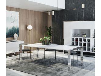 Modrest Fauna - Modern White High Gloss & Stainless Steel Chrome Dining Table