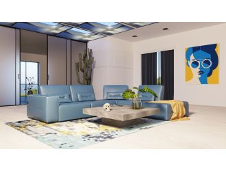 Accenti Italia Enjoy - Italian Modern Blue Leather Right Facing Sectional Sofa