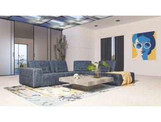 Accenti Italia Enjoy - Italian Modern Dark Blue Leather Right Facing Sectional Sofa