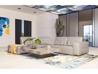 Accenti Italia Enjoy - Italian Modern Grey Leather Left Facing Sectional Sofa