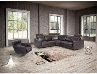 Estro Salotti Ethan - Modern Black Leather Sectional Sofa