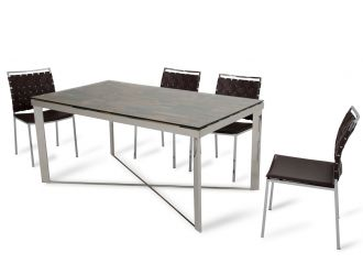Modrest Santiago Modern Rectangular Wood Mosaic Dining Table