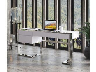 Modrest Fauna - Modern White High Gloss & Stainless Steel Desk