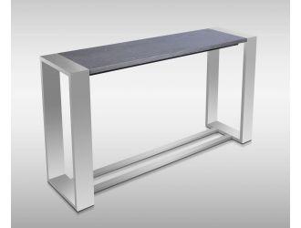 Modrest Fauna - Modern Grey Elm & Stainless Steel Console Table