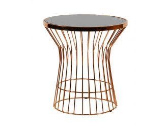 Modrest Ardath Modern Black Glass & Rosegold End Table