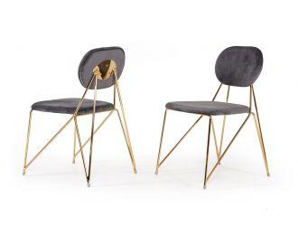 Modrest Carol Modern Grey Fabric Dining Chair (Set of 2)