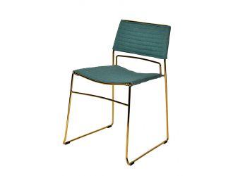 Modrest Swain Modern Green Fabric & Gold Dining Chair (Set of 2)