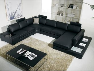 T35 - Modern Black Leather Sectional Sofa with Light