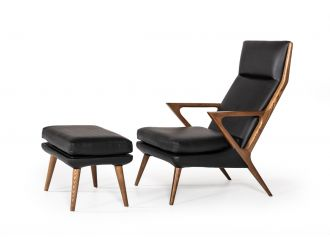 Modrest Fulton Modern Black Lounge Chair & Ottoman