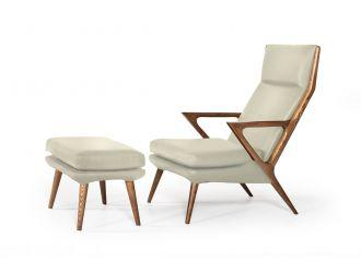 Modrest Fulton - Modern Beige Lounge Chair & Ottoman