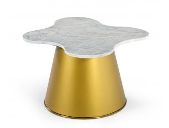 Modrest Gabbro - Glam White Marble and Gold End Table
