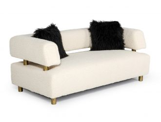 Divani Casa Gannet - Glam Beige Fabric Loveseat