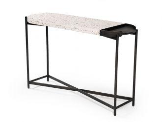 Modrest Gemini Modern White Terrazzo Concrete & Black Metal Console Table